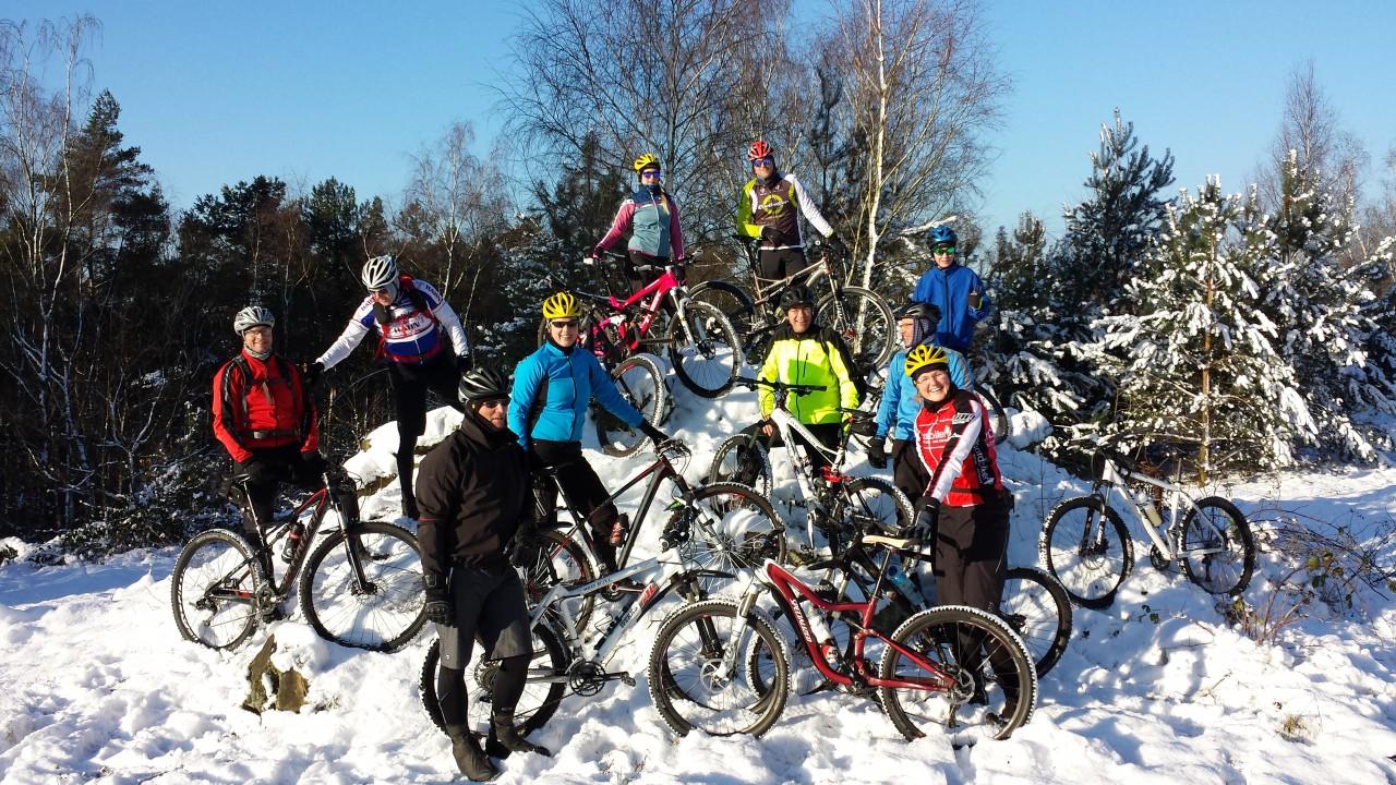 Schnee und Eis in der Haard machen das Bike zum besonderen Erlebnis